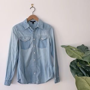 3/$20 Forever 21 Denim Chambray Button Down Size S